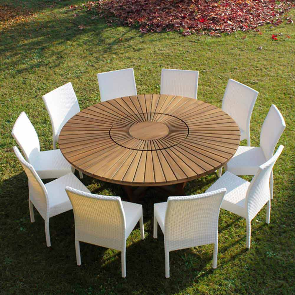 Indoor/Outdoor teak round dining table Real Table, modern design