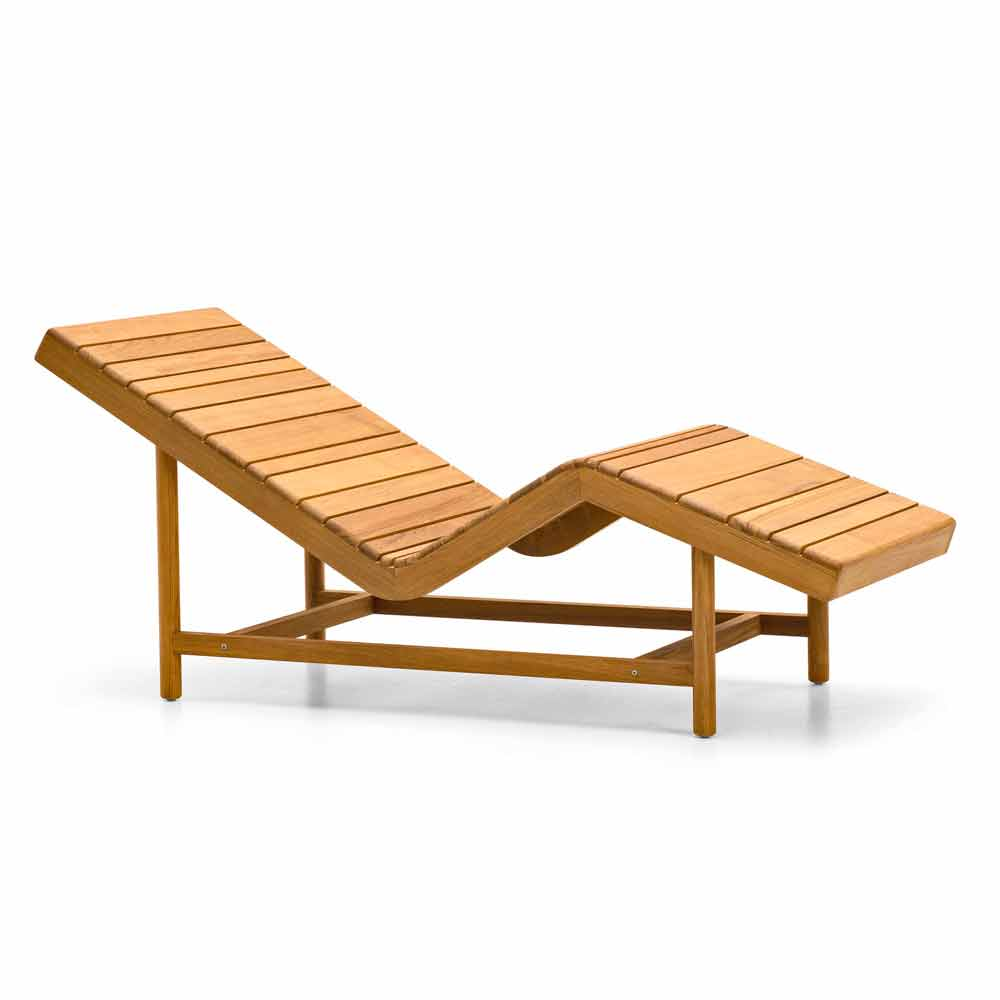 Varaschin barcode modern design outdoor chaise longue mande of teak - Chaise longue design ...