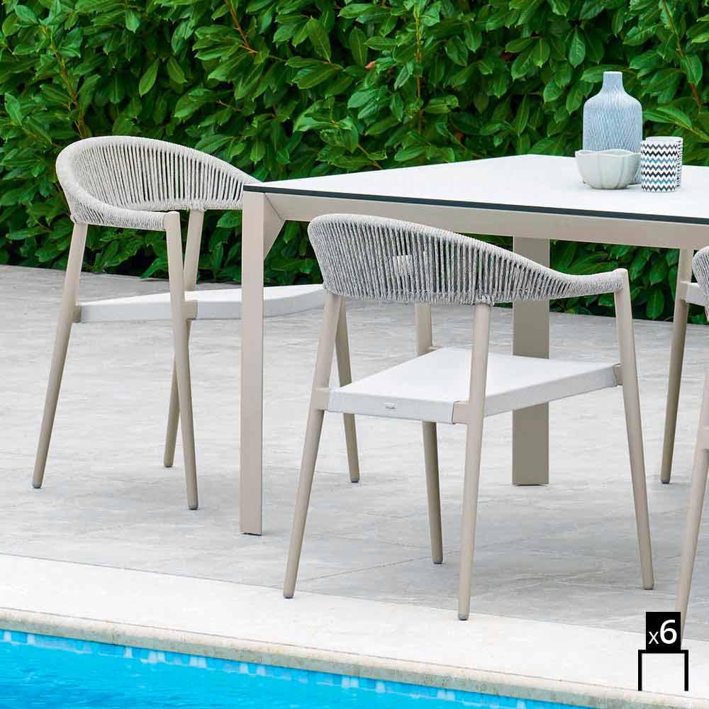 Varaschin clever contemporary garden design armchair 6 pieces