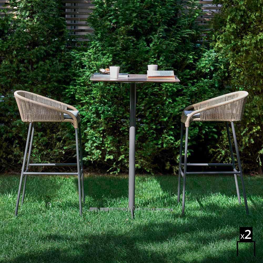 ... Varaschin Cricket Modern Aluminum Garden Stool, 2 Pieces ...