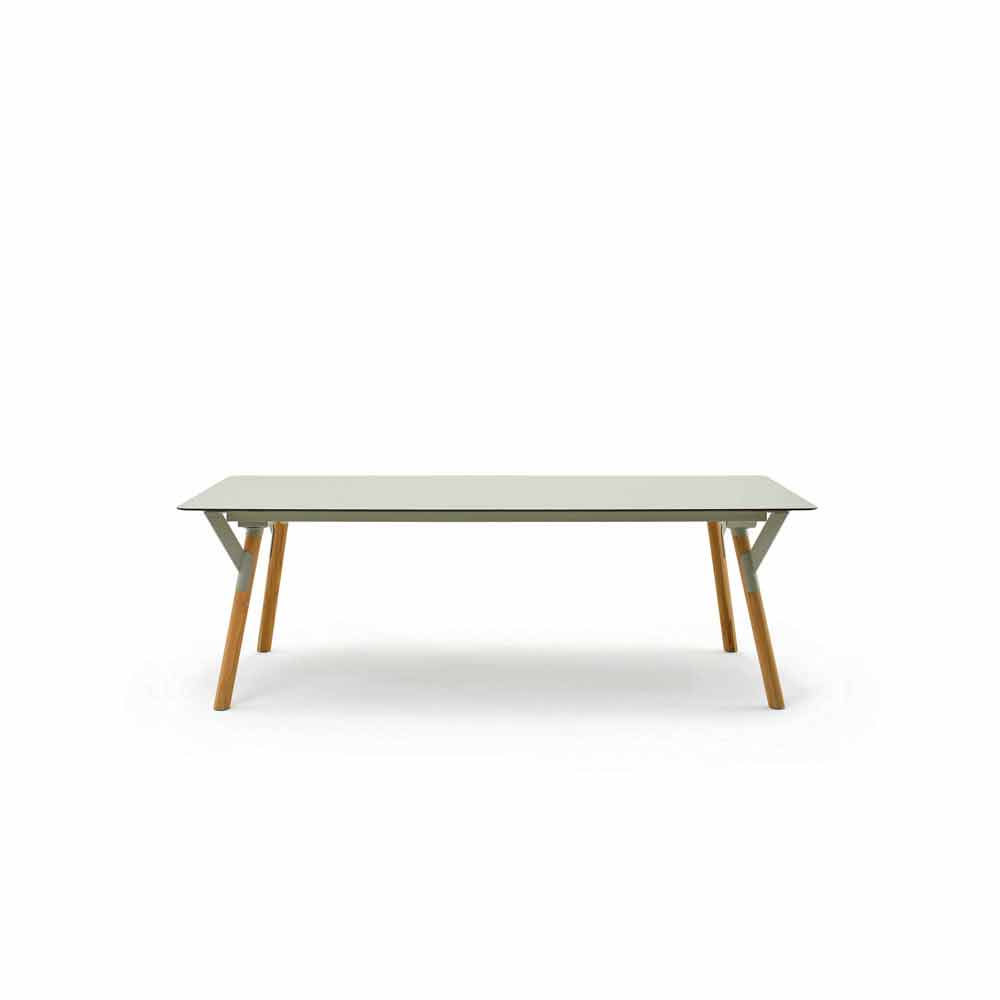Varaschin link extensible outdoor table with teak wood for Table extensible 120 cm