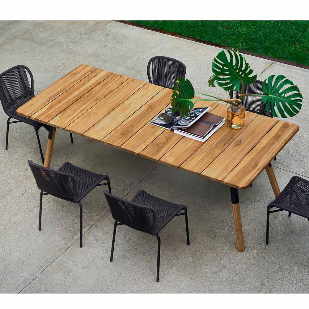 Tavoli Da Giardino In Teak.Modern Teak Wood Garden Dining Table H75 Cm Link By Varaschin