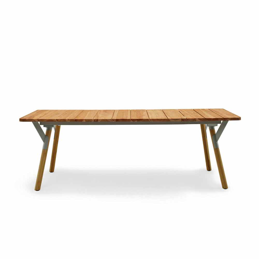 Varaschin link teak wood garden dining table h75 cm modern design - Modern design dining table ...