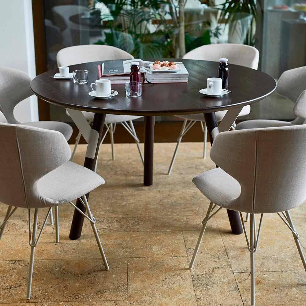 Varaschin link round garden dining table h 65 cm modern for Round dining table modern design