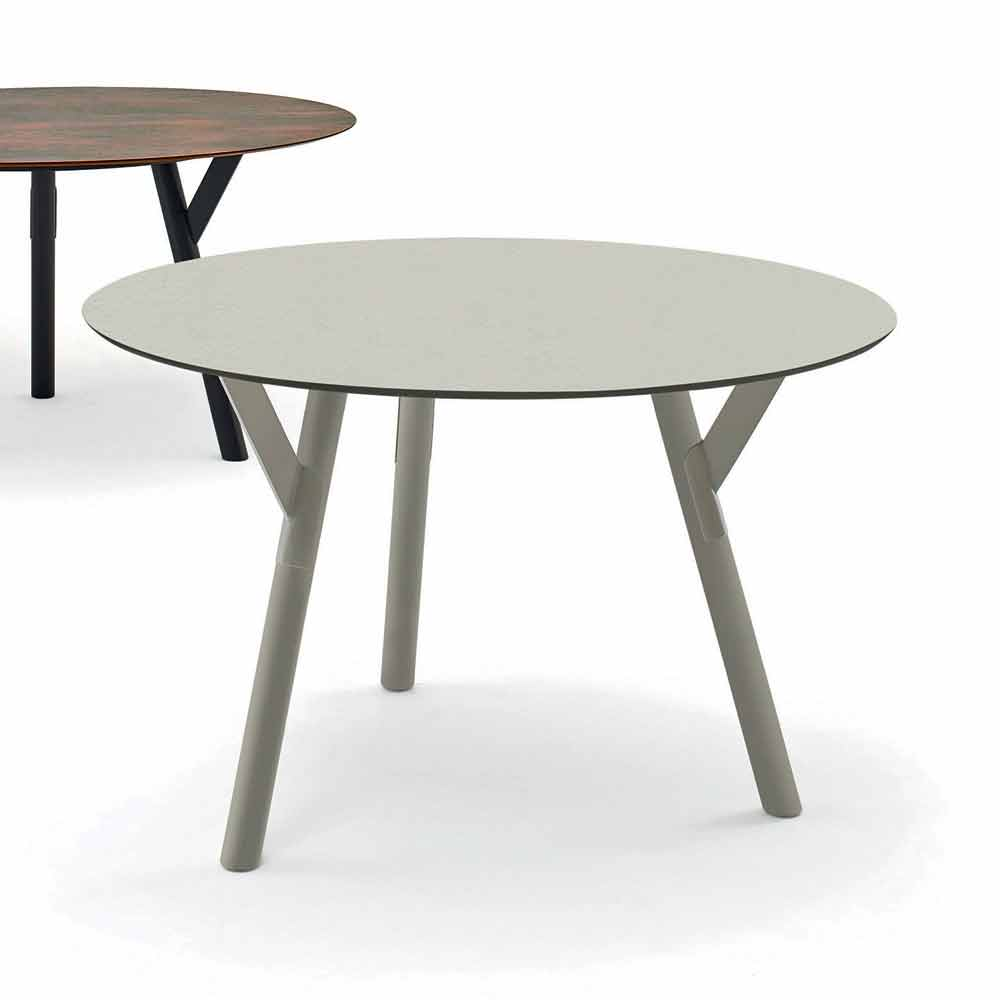 Varaschin link round outdoor dining table h 75 cm modern for Contemporary round dining table