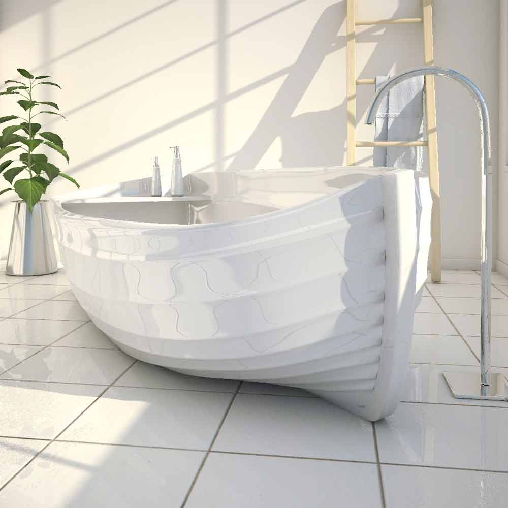 Modern design bathtub made entirely in italy ocean - Vasca da bagno angolare ...