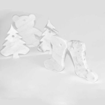 10 Christmas Tree Decorations in White Carrara Marble Luxury Design - Decorations