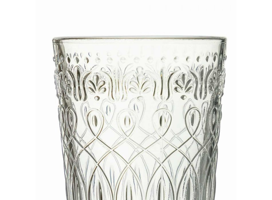 12 Decorated Transparent Glass Beverage Glasses for Drinks - Maroccobic