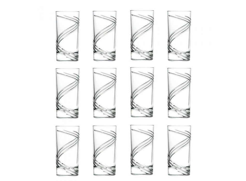 12 Tall Tumbler Cocktail Glasses in Italian Ecological Crystal - Cyclone