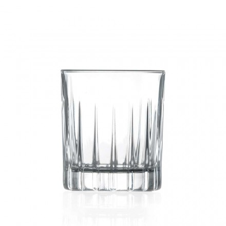 12 Liqueur Glasses in Eco Crystal with Linear Design Decorations - Senzatempo