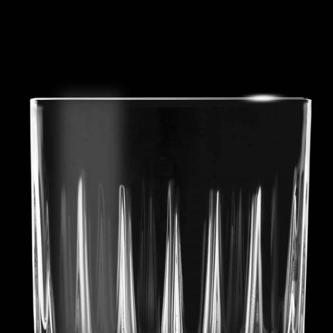 12 Liqueur Glasses in Eco Crystal with Linear Design Decorations - Senzatempo