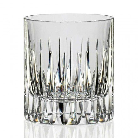 12 Low Whiskey Glasses or Tumbler Water in Eco Crystal, Luxury Line - Voglia