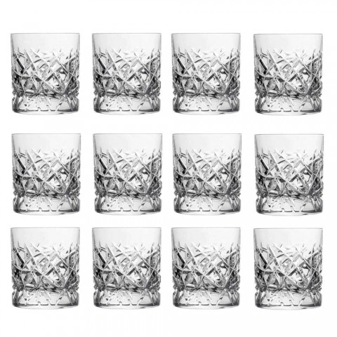 12 Dof Vintage Glasses for Water or Whiskey Design in Crystal - Titanium