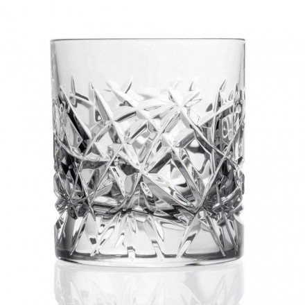 12 Crystal Dof Vintage Glasses for Water or Whiskey, Luxury Line - Titanio
