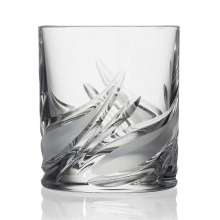 12 Double Old Fashioned Tumbler Crystal Whiskey Glasses, Luxury Line - Avvento