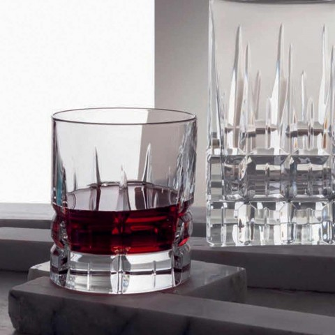 12 Double Old Fashioned Tumbler Basso Whiskey Glasses in Crystal - Fiucco