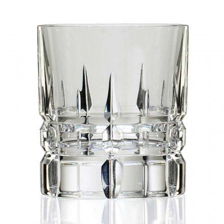 12 Double Old Fashioned Tumbler Whiskey Glasses in Crystal, Luxury Line - Fiucco