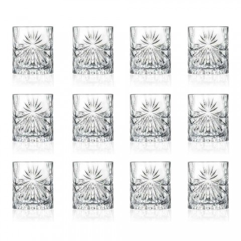12 Double Old Fashioned Tumbler Glasses in Eco Crystal Design - Daniele