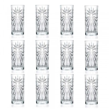 12 Highball Tumbler Tall Cocktail Glasses in Eco Crystal Design - Daniele