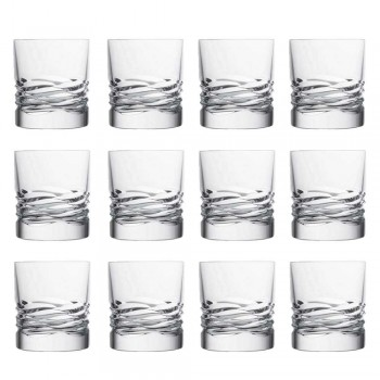 12 Crystal Glasses Wave Decor for Whiskey or Dof Tumbler Water - Titanium