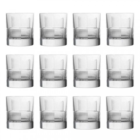 12 Glasses for Water or Whiskey Vintage Design in Decorated Crystal - Tactile
