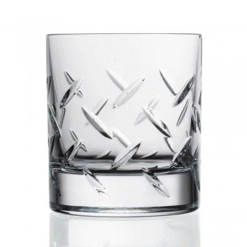 12 Glasses for Whiskey or Water in Eco Crystal with Modern Decorations - Arrhythmia
