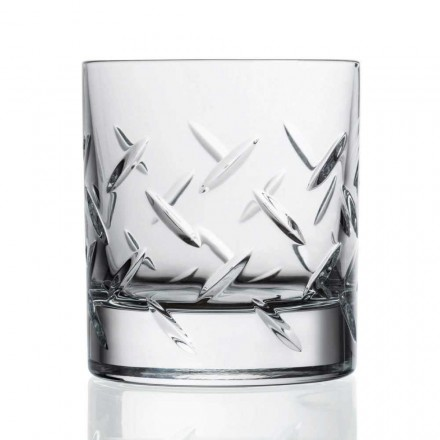 12 Crystal Glasses for Whiskey or Water with Decorations, Luxury Line - Aritmia