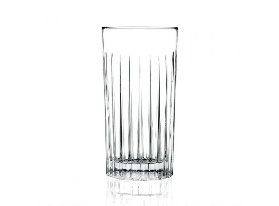 12 Tumbler Tall Highball Glasses in Decorated Eco Crystal - Senzatempo