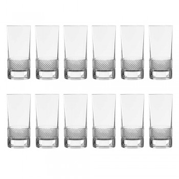 12 Tall Tumbler Glasses in Luxury Decorated Ecological Crystal - Milito