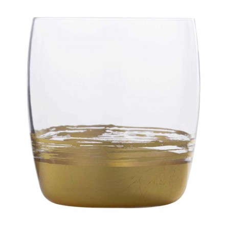 12 Low Tumbler Water Glasses and Gold-Platinum-Bronze Leaf, Luxury Line - Soffio