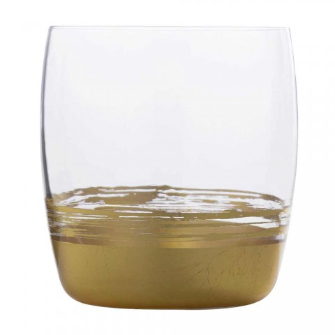 12 Low Tumbler Glasses for Water with Gold, Platinum or Bronze Leaf - Soffio