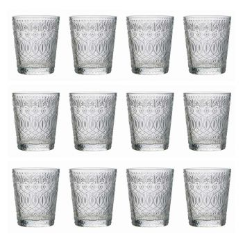 12 Tumbler Glasses for Water in Decorated Transparent Glass - Maroccobic