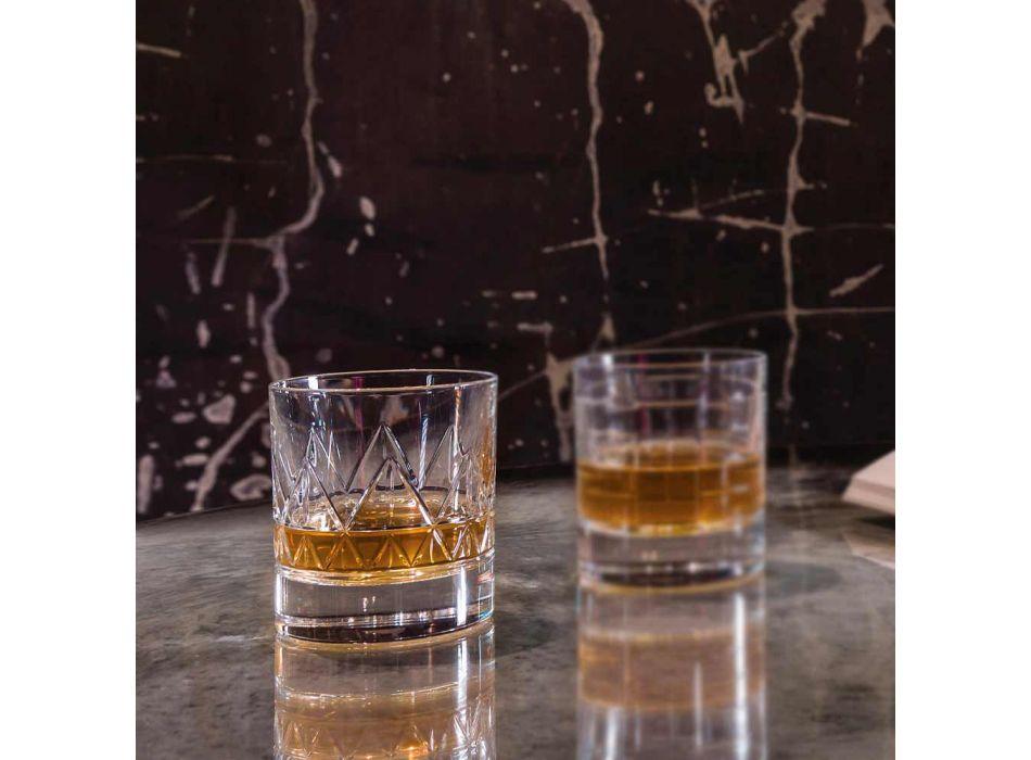 12 Glass Whiskey or Water Luxury Modern Design in Crystal - Arrhythmia