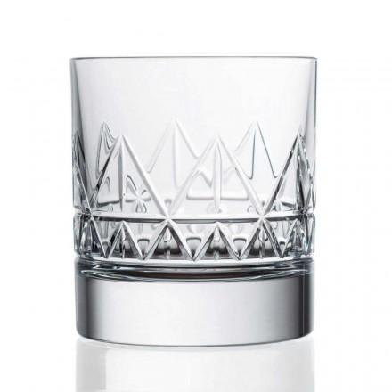 12 Crystal Luxury Vintage Design Whiskey or Water Glasses, Luxury Line - Aritmia