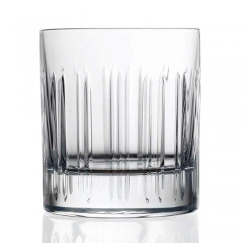 12 Whiskey or Crystal Water Glasses with Luxury Linear Decoration - Arrhythmia