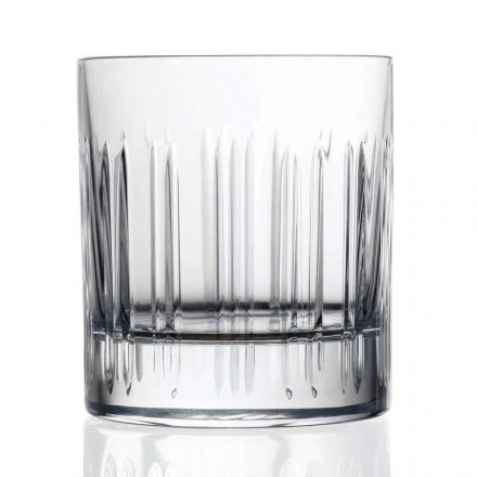 12 Whiskey or Water Crystal Glasses with Linear Decoration Luxury Line - Aritmia
