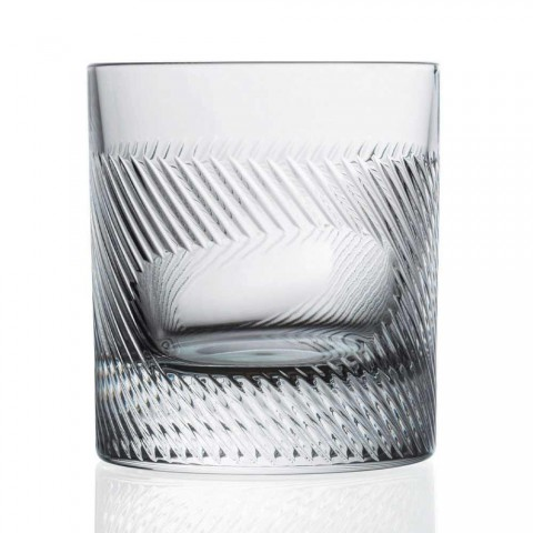 12 Whiskey or Water Glasses in Eco Crystal Decorated Vintage Design - Tactile