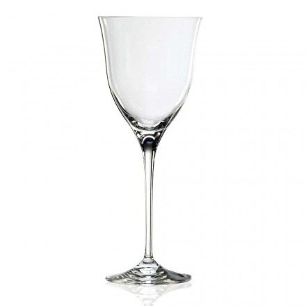 12 White Wine Glasses in Eco Crystal Minimal Design, Luxury Line - Lisciato