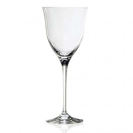 12 White Wine Glasses in Eco Crystal Minimal Design, Luxury Line - Lisciato