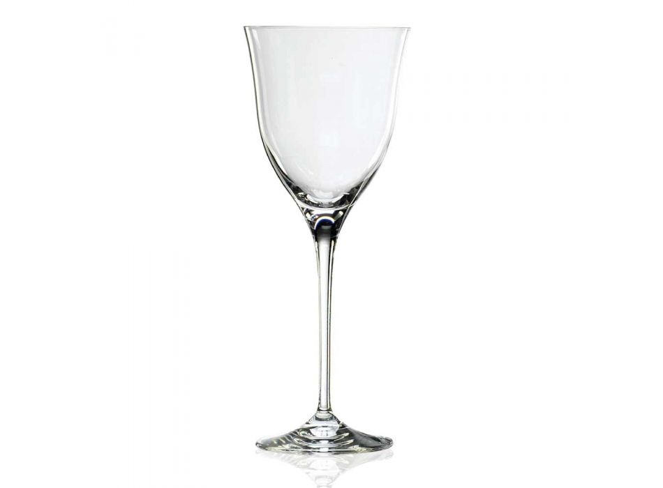 12 White Wine Glasses in Ecological Crystal Minimal Luxury Design - Smooth