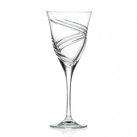 12 Red Wine Glasses in Ecological Lead Free Crystal, Luxury Line - Ciclone