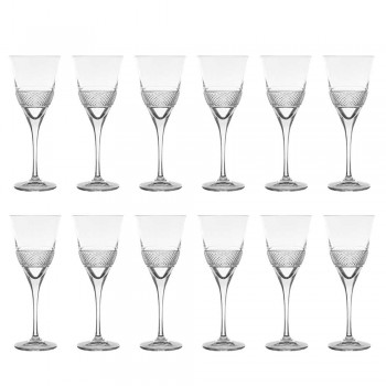12 Red Wine Glasses in Eco Crystal Elegant Decorated Design - Milito