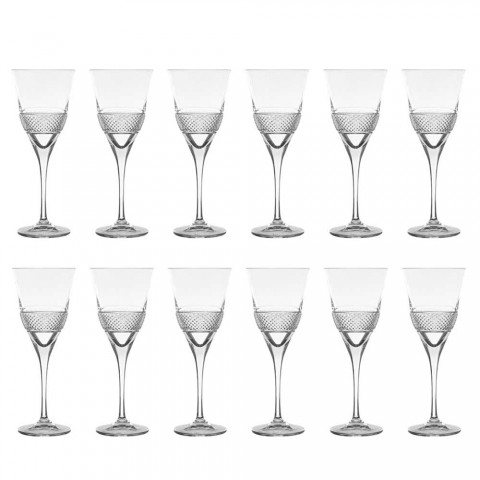 12 Red Wine Glasses in Eco Crystal Elegant Decorated Design - Milito