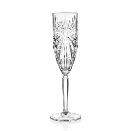 12 Flute Glasses Glass for Champagne or Prosecco in Eco Crystal - Daniele