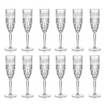 12 Flute Glasses Glass for Champagne or Prosecco in Eco - Daniele Crystal