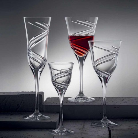 12 Champagne Flute Glasses in Innovative Decorated Ecological Crystal - Cyclone