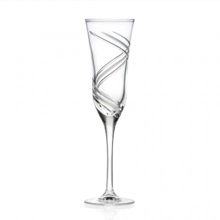 12 Champagne Flute Glasses in Decorated Crystal, Italian Luxury Line - Ciclone
