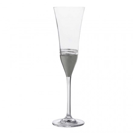 12 Flute Crystal Glasses with Gold, Bronze or Platinum Leaf Luxury Line - Soffio