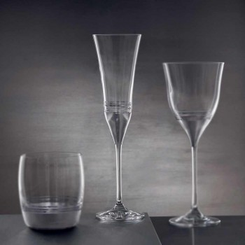 12 Crystal Flute Goblets with Luxury Gold Bronze or Platinum Leaf - Soffio