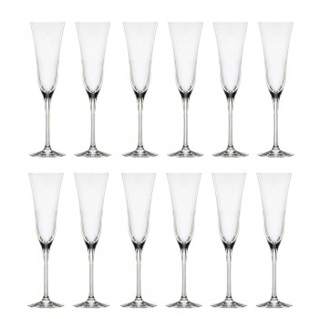 12 Flute Glasses in Ecological Luxury Crystal Minimal Design - Smooth